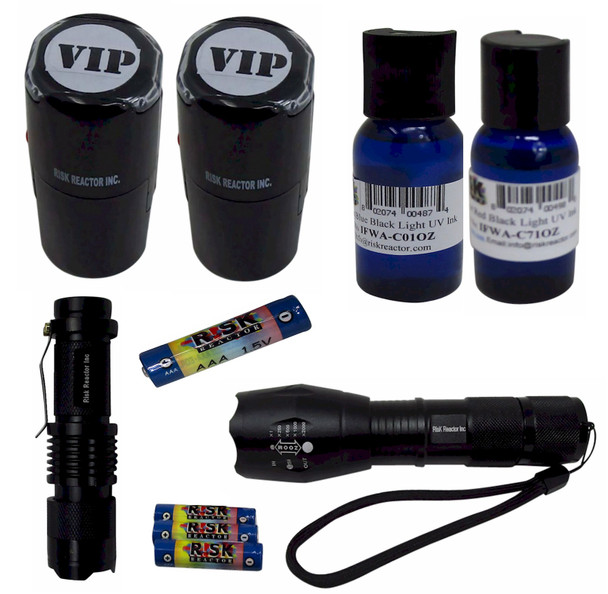 KDUALMZ Dual Color Blue and Red Fluroescent Stamping ID Kit Complete Zooming Blacklights with Batteries