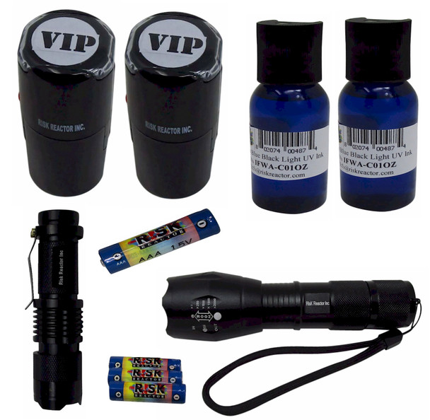 KZ2-B Invisible Fluorescent Blue Self Inking Stamping Kit with 2 Zoom Black Lights with Batteries