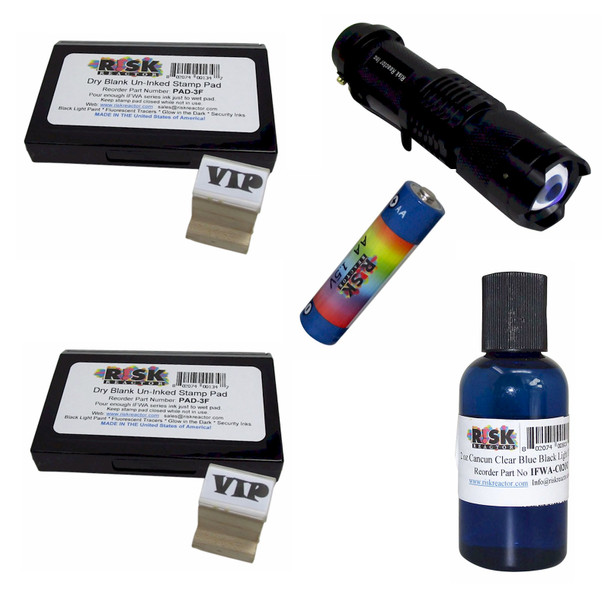 KWM-B Wood Stamping Kit Clear Blue Fluroescent Ink with Black Light and Batteries