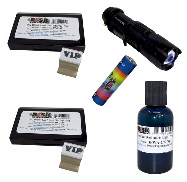 KWM-R Invisible UV Red Wood Stamping Kit with Black Light and Batteries