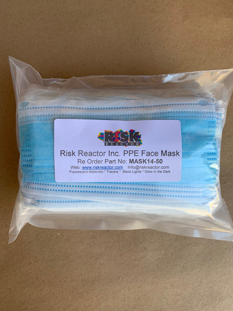 Bag of 50 disposable face masks for use to protect from air borne bacteria and viruses