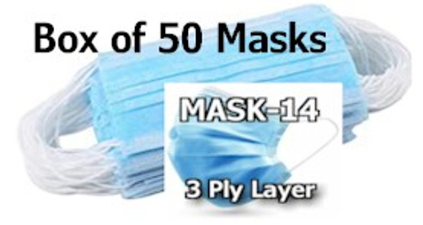 MASK14-50 is a Box of 50 MASK-14 Three Ply Disposable Protective Masks