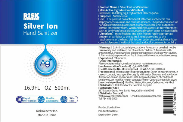 500 ML Silver Ion of Hand Sanitizer