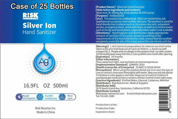 Case of twenty five silver ion and alcohol hand sanitizers that can kill 99.99% of bacteria and viruses