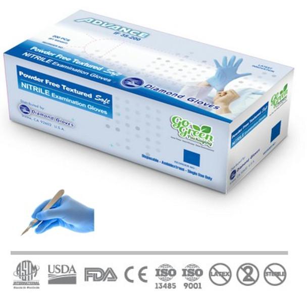 DEGLOVE40XL Extra Large Ambidextrous Single Use Exam Grade Box of 100 large blue nitrile powder free gloves