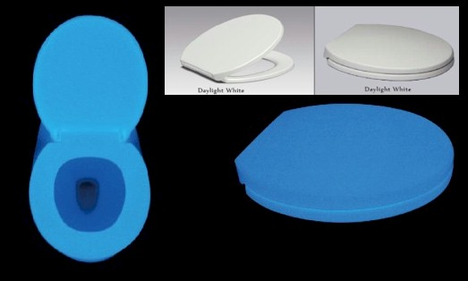 Glow in the dark toilet seat in sky blue