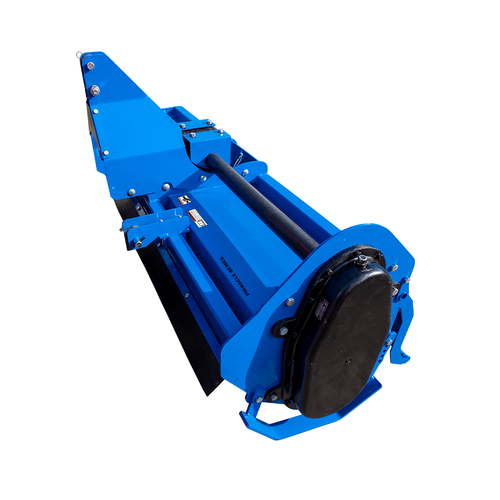Pinnacle Series Rotary Tiller, Blue, Side View with Gear Box