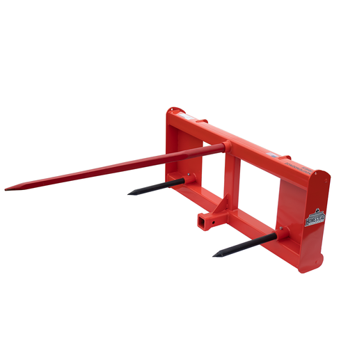 Front-Loader Bale Spear Independence Series Orange Front Angle View