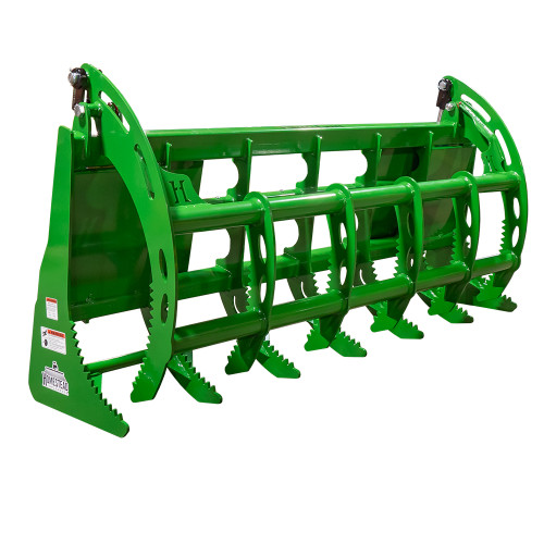 John Deere Root Grapple, Green, Front View, Closed