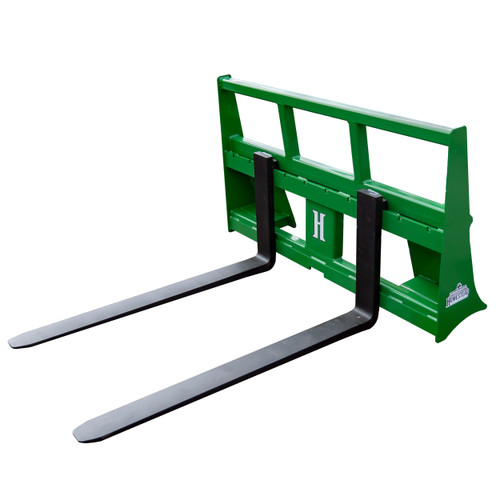 John Deere Pallet Forks, Green, Front View with Forks