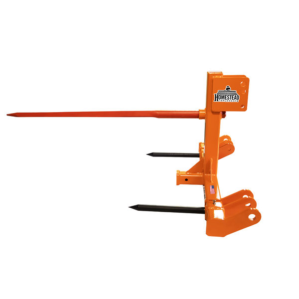 Quick-Hitch Bale Spear Pinnacle Series Orange Side View with Main Spear