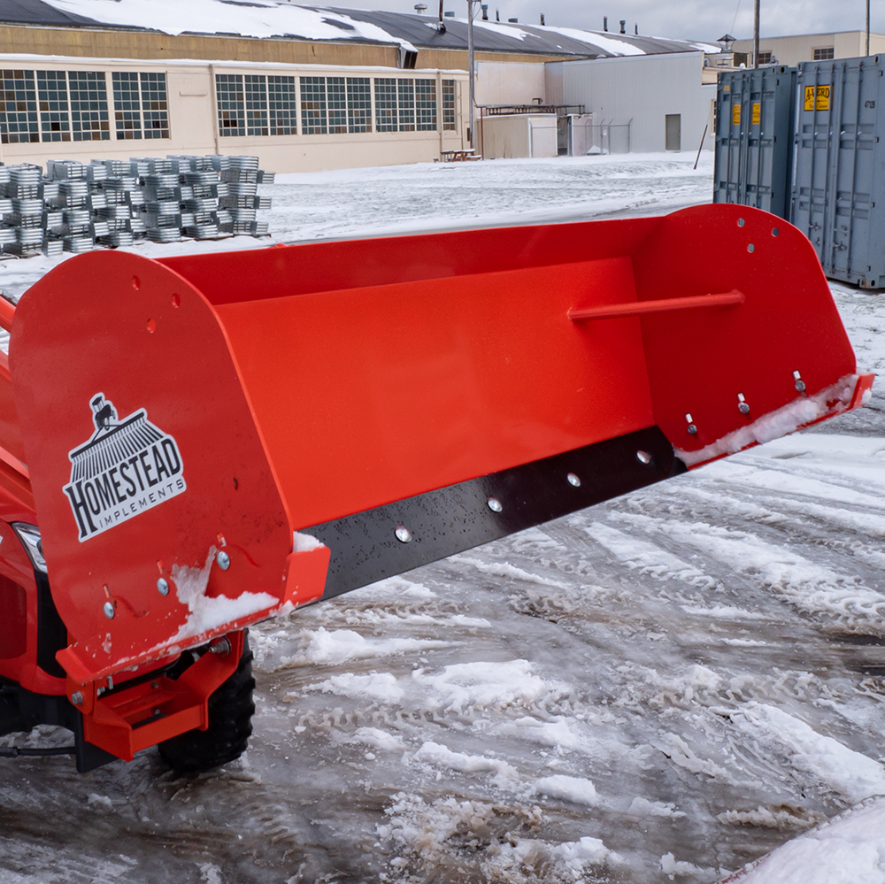 Pinnacle Series Snow Pusher, Front View Lifted with Scrape Blade