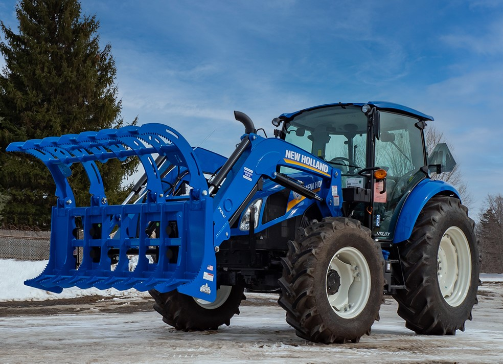 Heavy-Duty Grapple, Blue, New Holland Tractor