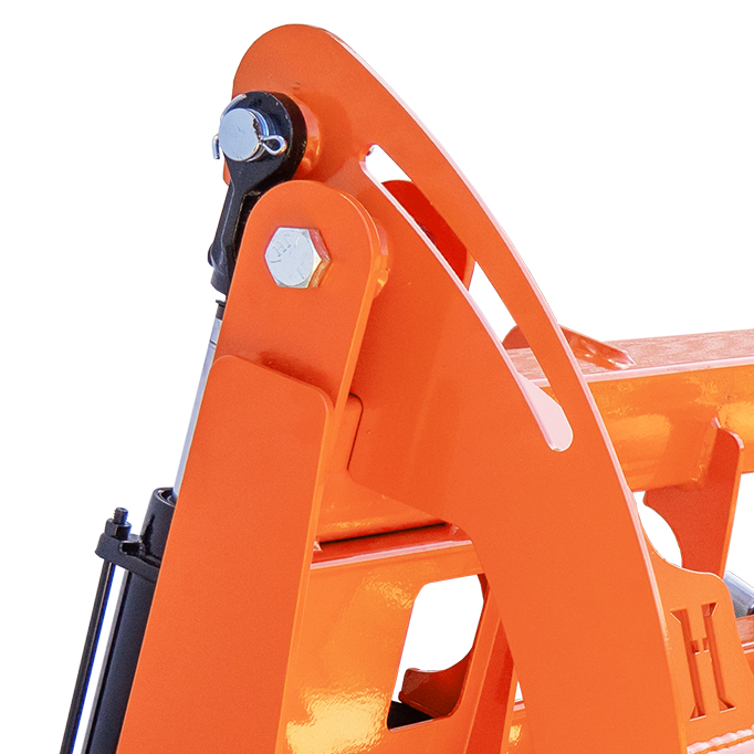 Mechanical stops prevent hydraulic damage.