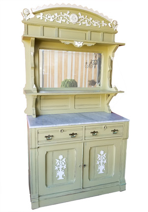 Antique Eastlake buffet server and hutch with marble top and mirrored back.