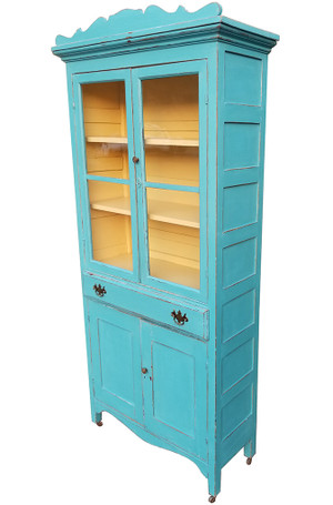 Antique Hutch in Aqua and Yellow