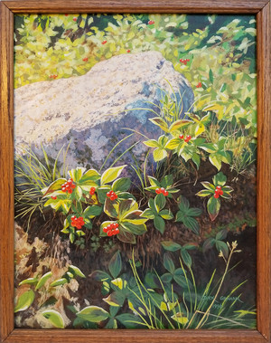 Signed red berry oil on canvas  main