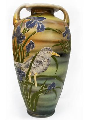 Bird and Iris Ceramic Vase main