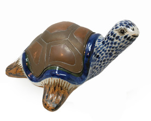 Turtle by Sergio Bustamante made from ceramic and copper.