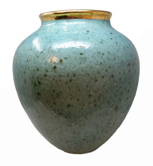 Steven Klinsky monumental ceramic vase in turquoise with gold rim.