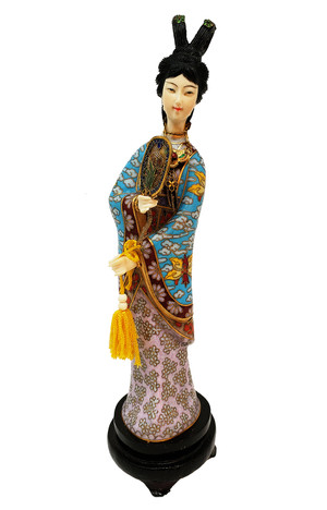 Geisha figurine with cloisonne kimono and rosewood base.