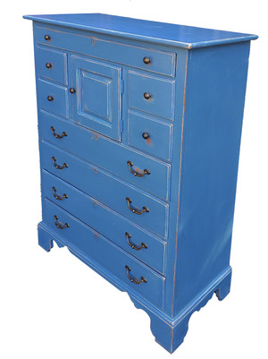Tallboy dresser made of oak and artisan-painted blue.