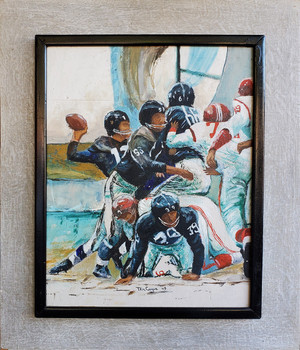 Oil painting of football players in action, framed and mounted on painted board.