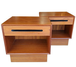 Pair of midcentury modern teak side tables by Westnofa of Norway.