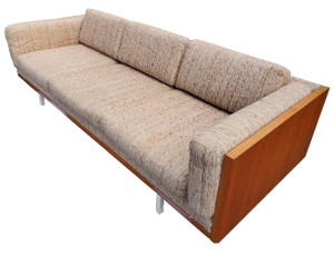 Midcentury case sofa by Komfort of Denmark with teak base and original upholstery.