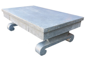 Modernist coffee table clad in galvanized steel.