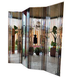 Four-Panel Beveled Mirror Screen