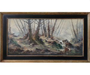 Oil painting of winter forest scene set off by black accented frame.