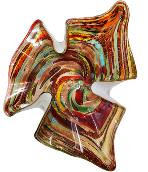 Colorful, hand-blown Murano glass dish.