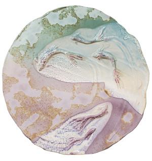Large raku platter with koi fish by Tony Evans.