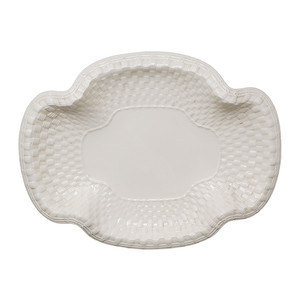 Ceramic Spode platter in basketweave design.