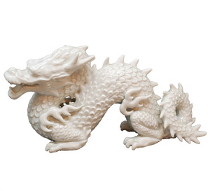 East Asian dragon figure in porcelain.