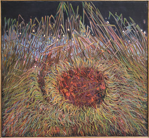 Oil painting of a nest in grasses by Lois Foley.