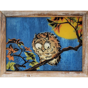 "Dax Berg ""Night Owl"" -  Acrylic on Glass 18.5""x 14"""