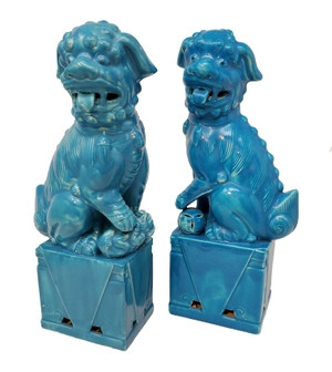 Blue Foo Dog Pair