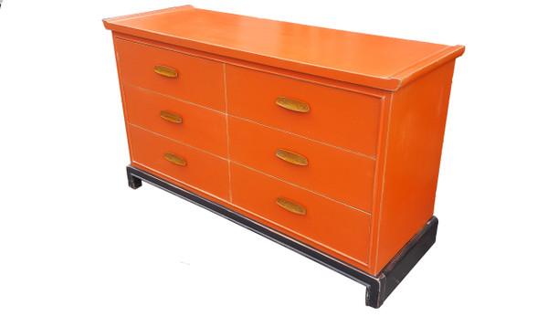 Asian Modernist Dresser in Persimmon