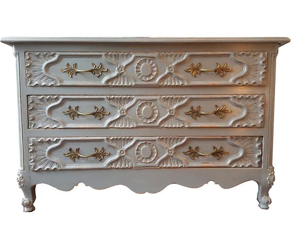 Carved Dresser in Dove Grey