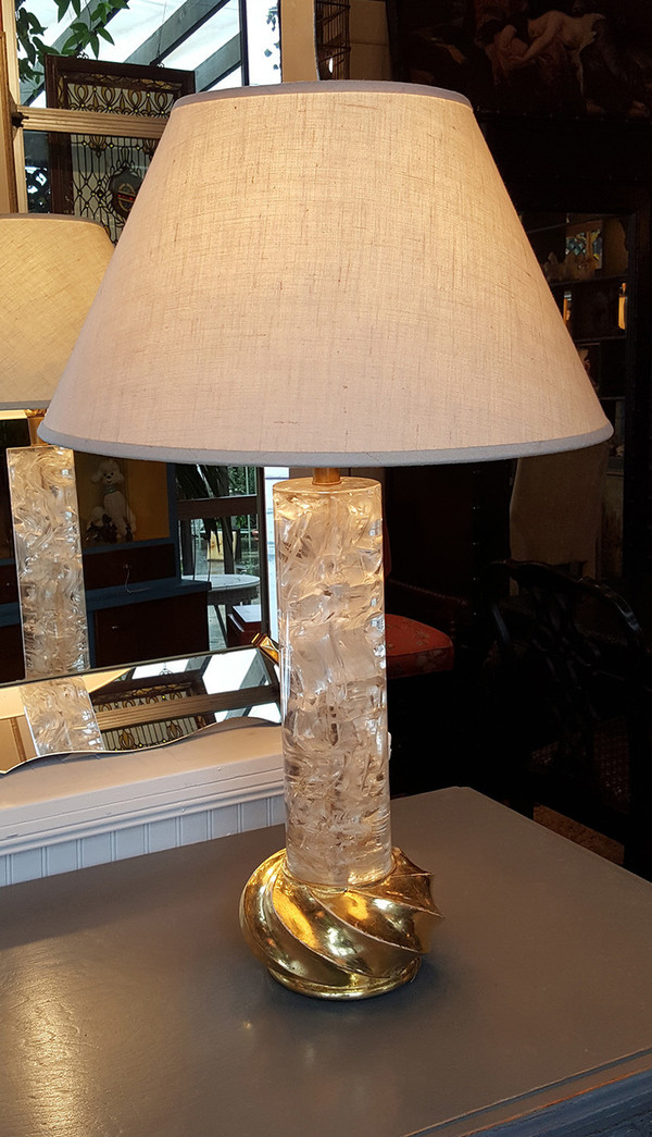"""Fractured""  Lucite Lamp with Gilded Base"