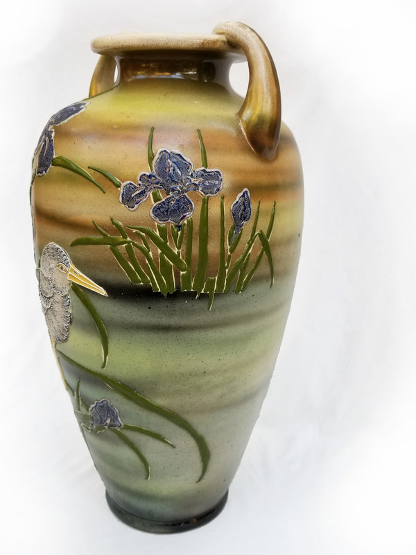 Bird and Iris Ceramic Vase quarter turn