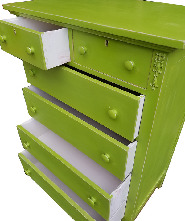 Antique Dresser in Vibrant Apple Green