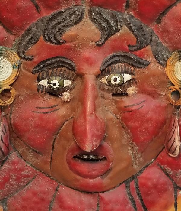 Antique Sun Man Mexican Guerrero folk Mask Face detail