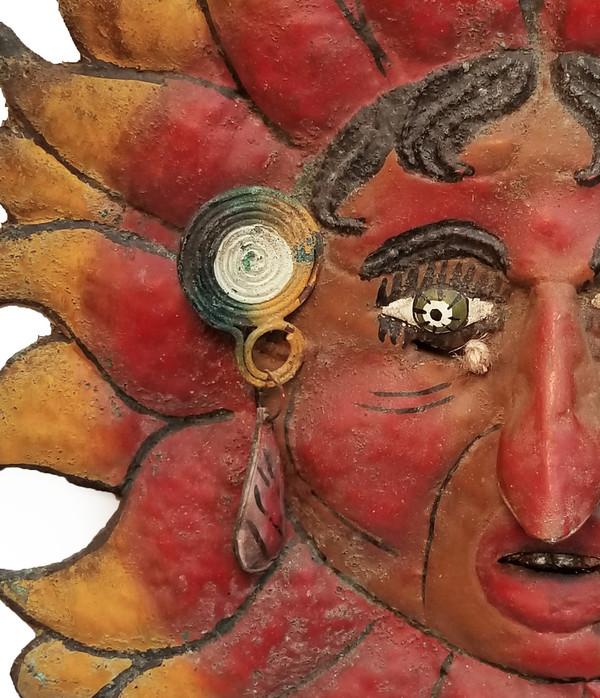 Antique Sun Man Mexican Guerrero folk Mask earring