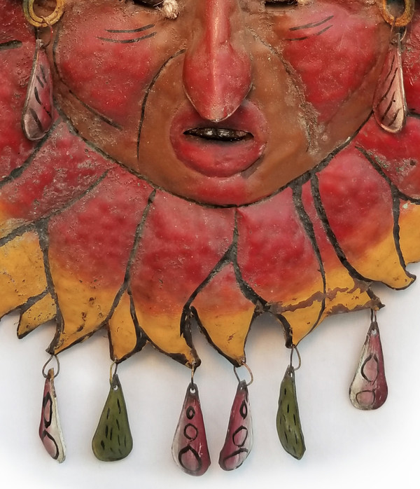 Antique Sun Man Mexican Guerrero folk Mask Tassels