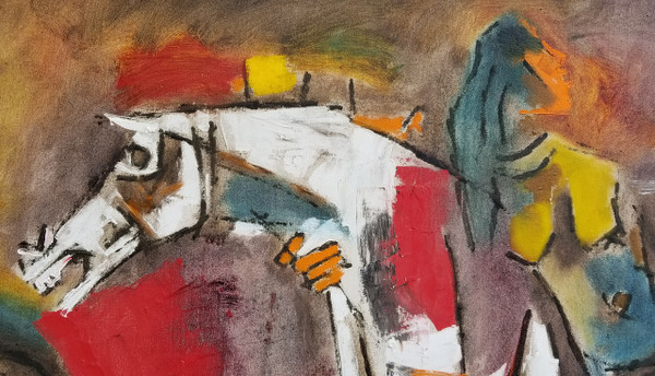 Woman on Horse Abstract Painting 56 X 30