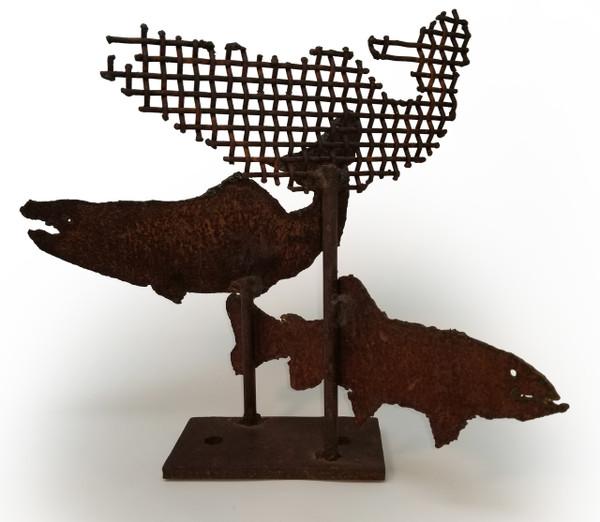 Brutalist Iron Fish Sculpture