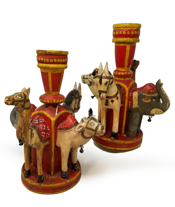 Vintage Painted Animal Candle Holders